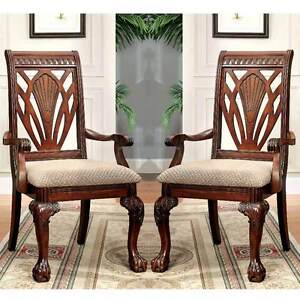 Petersburg 2 Pc Formal Elegant Dining Fabric Arm Chairs Curved Claw Feet Cherry