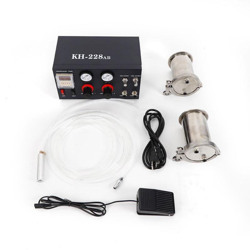 HOT Glue Semi-auto AB Mixing Doming Liquid Glue Dispensing Machine 2x 500ml Tank