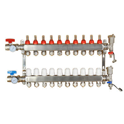 10 Branch Pex Radiant Floor Heating Manifold Set For 12 Pex