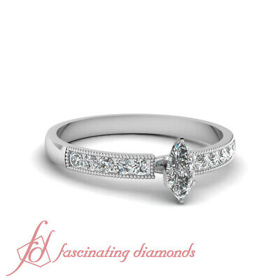 Milgrain Engagement Ring Channel Set 0.70 Ct Marquise Cut GIA Certified Diamond