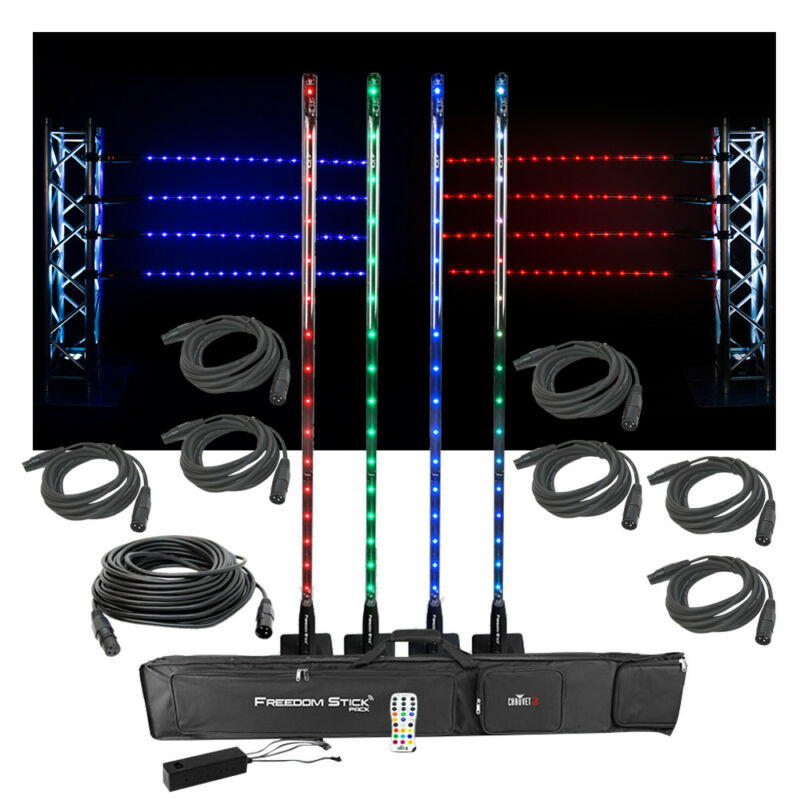 Chauvet DJ Lighting Freedom Stick Pack Color LED Light Stands w/ DMX Cables New