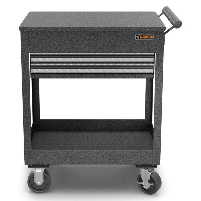 Portable 27 in. 2-Drawer Steel Utility Cart Rolling Tool Sto