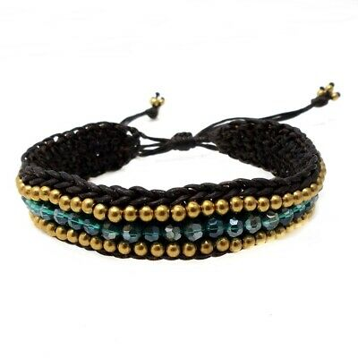 Cool & Stylish Green Stone & Brass Beads with Cotton Rope Pull String Bracelet](Cool String Bracelets)