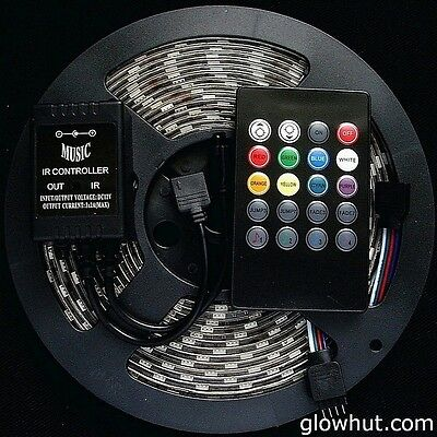 Multi color LED strip & music RGB controller waterproof adhesive remote control