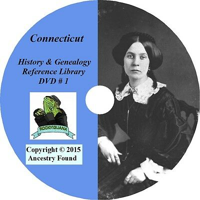 CONNECTICUT - History & Genealogy -265 old Books on DVD - Ancestors,County,CD,CT