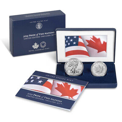 Best  2019 PRIDE OF TWO NATIONS SILVER 2PC. U.S. SET BOX OGP & COA