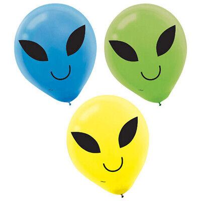 HAPPY BIRTHDAY Blast off ALIEN LATEX BALLOONS (15) ~ Party Supplies - Happy Birthday Party Supplies