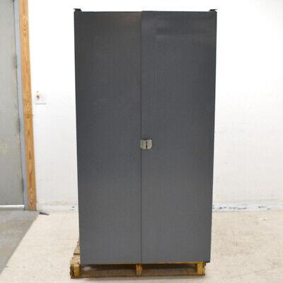 Dark Gray 38x 24x 71 Steel 2-door 1-shelf Storage Cabinet W65 Plastic Bins