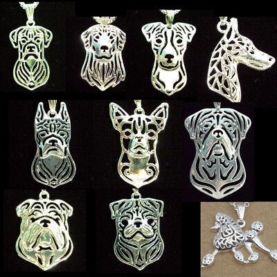 Dog Necklace Charm Labrador Pug Poodle Doberman Boxer Chihuahua Bulldog Silver