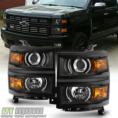 Black Projector - Black Projector Headlights For 2014-2015 Chevy Silverado 1500 Pickup Headlamps