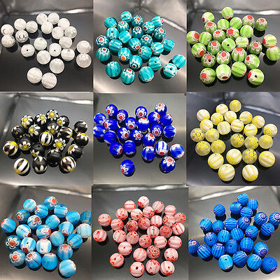 (20Pcs Mixed Glass Flower Inside Lampwork Beads Round Spacer Millefiori Beads 8mm)