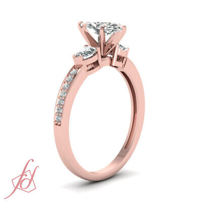 Pear And Marquise Diamond Accented 1 Ct Unique Engagement Ring In Rose Gold GIA 2