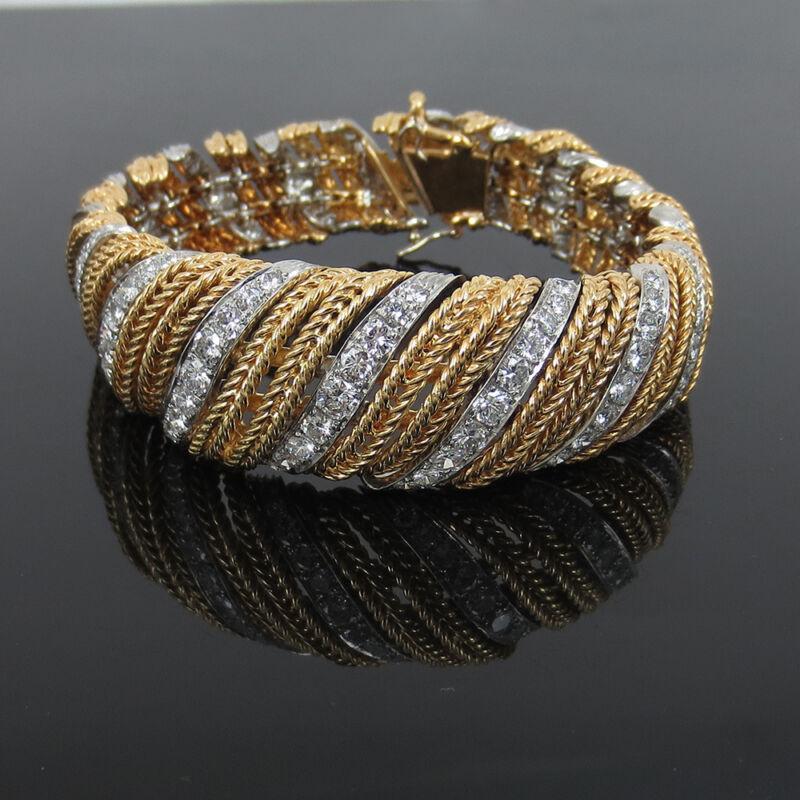 Rare Sterle Paris 12.50ct Diamond & 18k White & Yellow Rope Design Bracelet