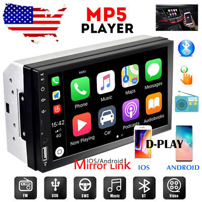 "Double 2 Din 7"" Car Radio Apple/Andriod Car Play Touch Screen Stereo Bluetooth"