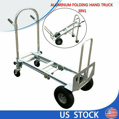 3 In 1 Aluminum Four Wheel Hand Cart Truck Foldable Regular Dolly 350kg Capacity
