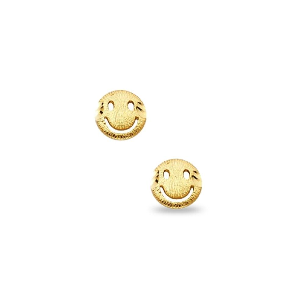 Wellingsale 14K Yellow Gold Polished Rainbow Round Stud Earrings With Screw Back
