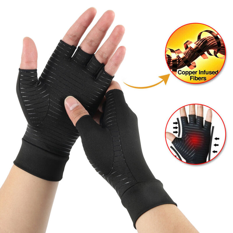 Copper Fit Compression Gloves Arthritis Carpal Tunnel Hand W