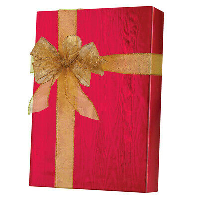 METALIZED RED FOIL MOIRE GIFT WRAP ROLL IN CUTTER BOX  E 9502    USA