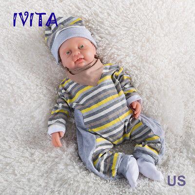 IVITA 18'' Full Silicone Reborn Baby BOY Take Pacifier Lifelike Infrant Dolls