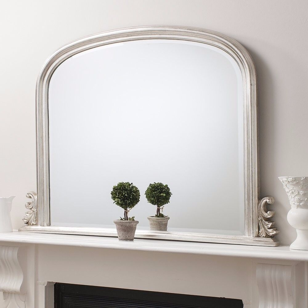 """1 x Thornby Silver Over-Mantel Mirror 47""""x37"""" by Gallery Direct"""