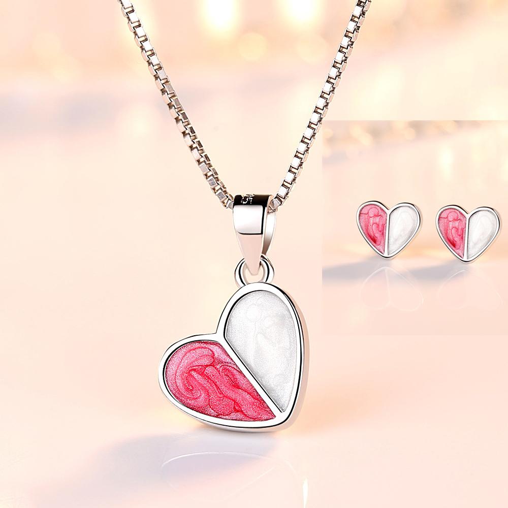 Jewellery - 925 Sterling Silver Heart Pendant Chain Necklace Stud Earrings Womens Jewellery