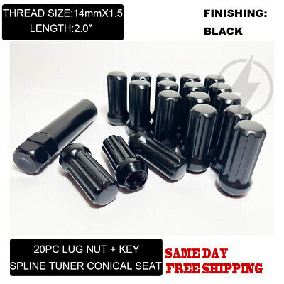 FIT RAM 15002012-2019 5LUG SPLINE TUNER LUG NUT CONE SEAT 2'' 14x1.5 BLACK 20PC