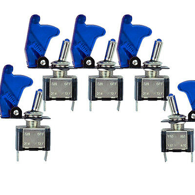 5 Pcs 12v Car Blue Led Light Cover Spst Toggle Switch Switches Control Us Sl