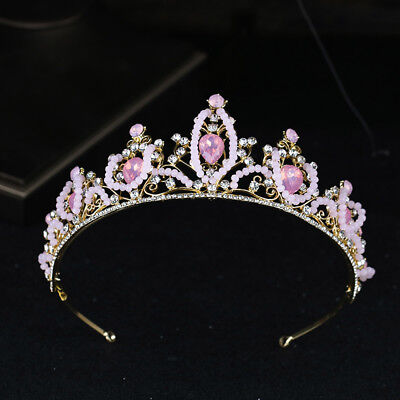 Pink Crystal Gold Princess Tiara Girls Birthday Queen Diadem  - Pink Tiara