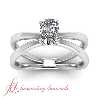 Butterfly Twist Solitaire Engagement Ring 1/2 Carat Cushion Cut Diamond VVS2 GIA 4