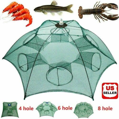 Fishing Bait Trap Crab Net Crawdad Shrimp Cast Dip Cage Fish Minnow Foldable NEW Fishing