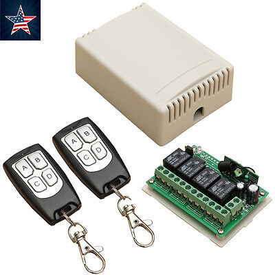 Wireless Remote Control DC 12V 4CH 315MHz Relay Switch 2 Transceiver + Receiver