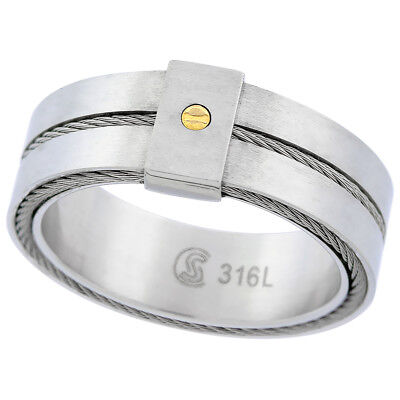 8.5mm Stainless Steel Screw Design & Rope Inlay Wedding Band Ring, Satin Finish