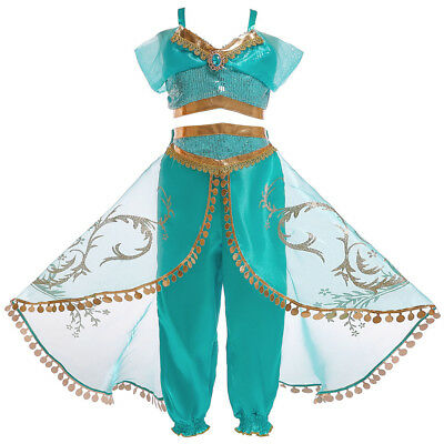 Halloween Princess Jasmine Costume (Kids Aladdin Costume Princess Jasmine Cosplay Outfit Girls Halloween Dress)