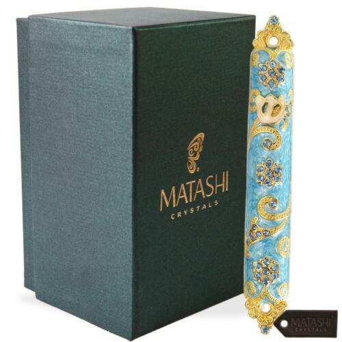 "MTMZ573 4.5""Hand Painted Mezuzah Embellished w/Rich Blue Judaica Design 24K Gold"