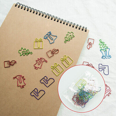 20x Memo Paper Clips Bookmark Christmas Metal Binder Clip Office School Supplies