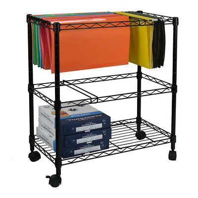 12 Tier Layer Metal Rolling Mobile File Cart Office Supplies Black