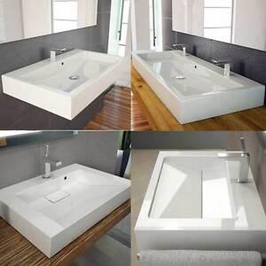 design waschbecken waschtisch auch mit ablaufschlitz ablaufabdeckung wandmontage ebay. Black Bedroom Furniture Sets. Home Design Ideas