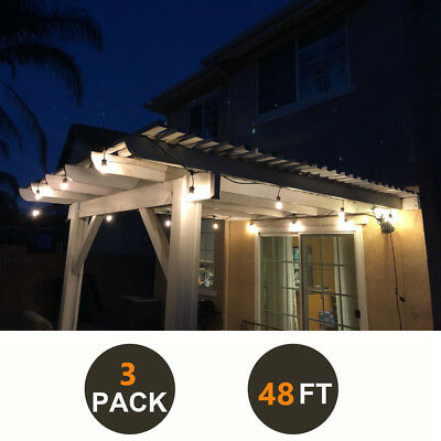 3 Pack of 48FT Outdoor Waterproof Commercial Grade Patio LED String Light Bulbs