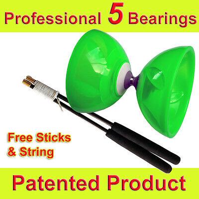 Professional 5 Bearing Diabolo + Diablo Sticks & String - Green