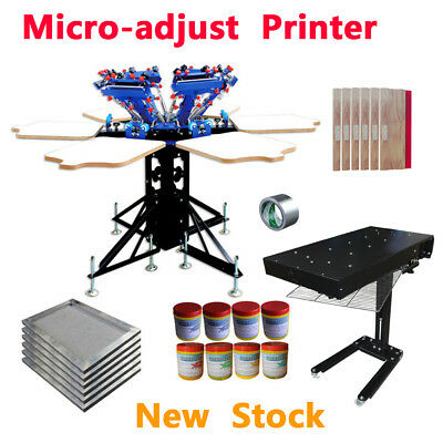 6 Color Screen Printing Kit Flash Dryer Micro-adjust Press Machine Consumables