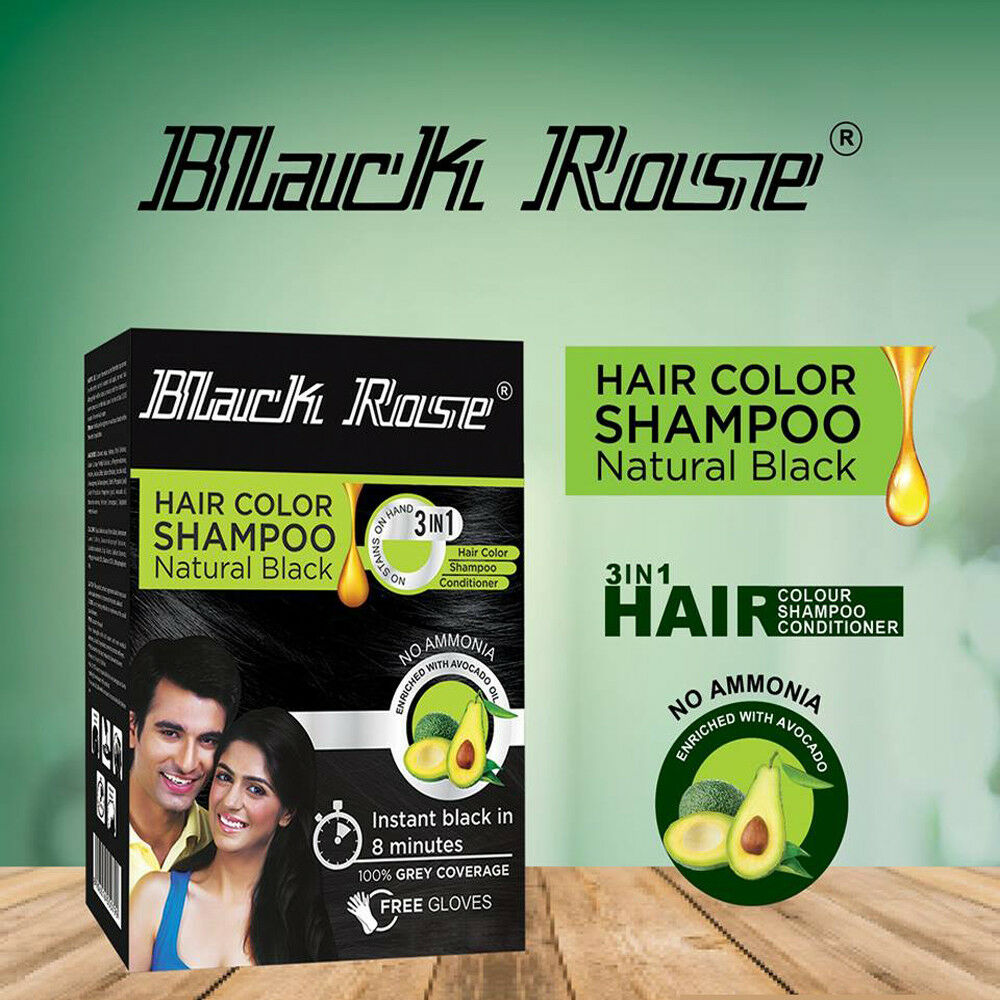 5x15ml BLACK ROSE KALI NATURAL BLACK SCHWARZ HENNA HAARFARBE SHAMPOO 75ml 3 in 1