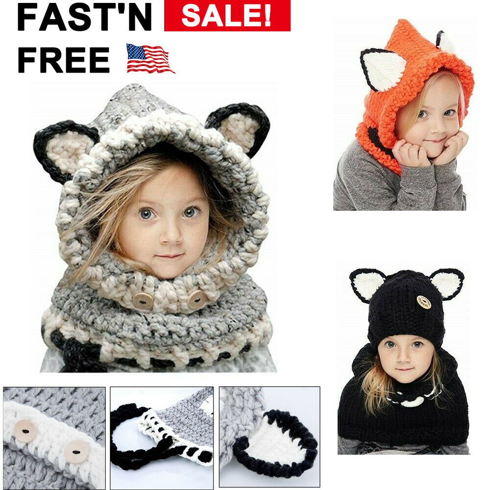 Boys N Girls Cute Fox Shape Hat /& Scarf Wooly Earflap Hood Scarf Warm Winter