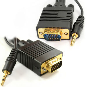 5m Laptop to LCD HD TV VGA Cable with Jack Audio Lead