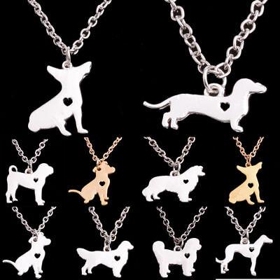 Cute Silver Gold Dog Puppy Pet Pendant Necklace Chain Bulldog Dachshund Charm