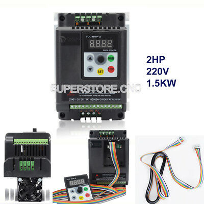 2hp 7a Vfd Single Phase Variable Frequency Driver Inverter 1.5kw 220v 5m Cable