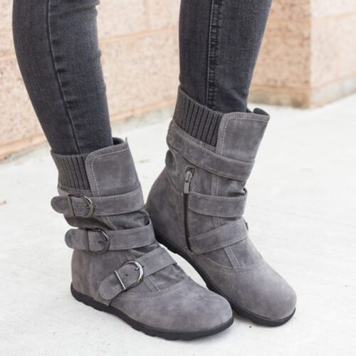 Womens Winter Warm Ankle Boots Ladies Fur Snow Buckle Flats Suede Shoes US Size