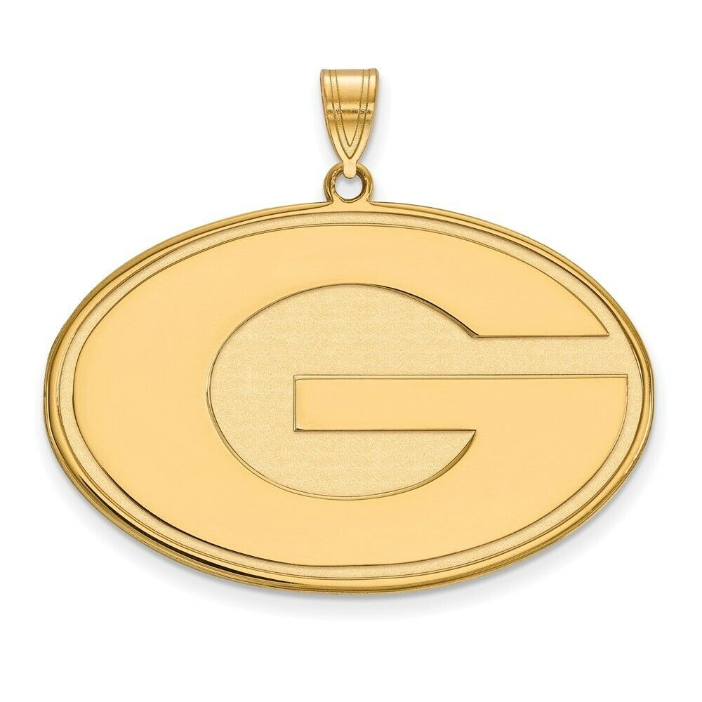Georgia Bulldogs School Letter Logo Pendant Necklace Gold Plated Silver 20x30mm 18 Inches