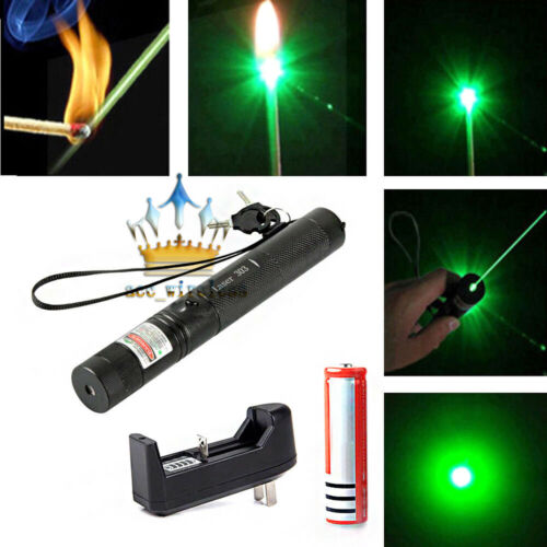 Green Laser Pointer Beam Lazer Pen + Star Cap + Battery+ Charger USA!