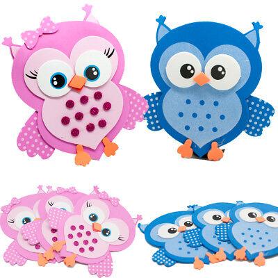 10 Owls Baby Shower Favors Foam Decorations Buo Bird Blue Pink Recuerdos (Baby Blue Foams)