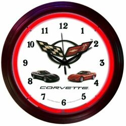 Chevrolet Corvette C5 Logo Red Neon Hanging Wall Clock 15 Diameter 8CORVX
